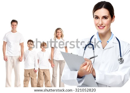 Medical family doctor and patients. Isolated white background. - stock photo