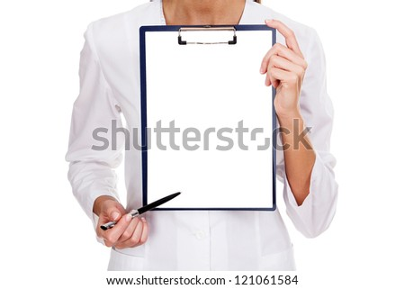 medical female doctor holding blank billboard isolated on white - stock photo
