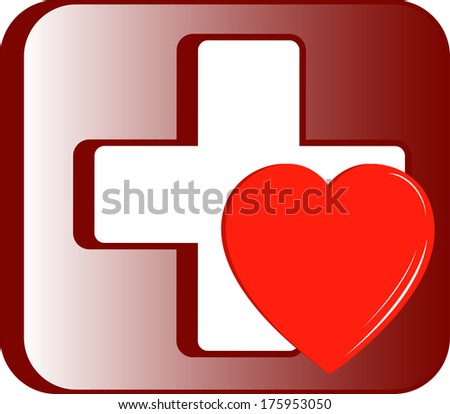 medical first aid kit icon with cross and heart - stock photo