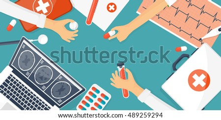Medical flat background,health care,first aid.International health protection,insurance.Medicine and surgery.Vaccination,medical research program.Online health check,medical diagnosis,treatment