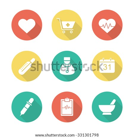 Medical flat design long shadow icons set. Hospital cardiology center. Pharmacy store and alternative medicine herbs healing. Ecg and heart beat symbol. Raster infographic silhouette elements  - stock photo