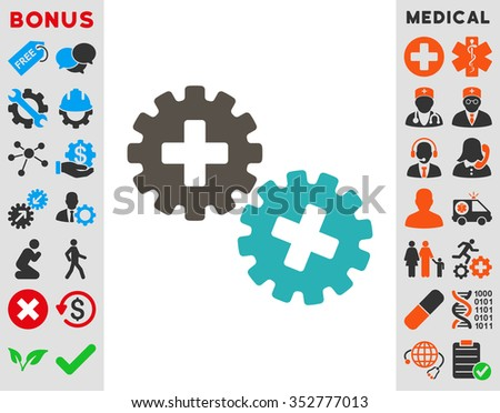 Medical Gears glyph icon. Style is bicolor flat symbol, grey and cyan colors, rounded angles, white background.