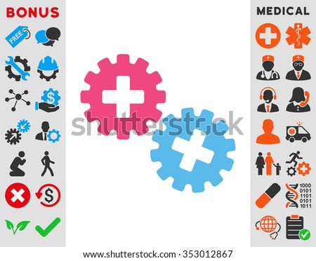 Medical Gears glyph icon. Style is bicolor flat symbol, pink and blue colors, rounded angles, white background.