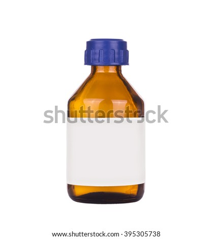 Medical glass bottle on a white background - stock photo