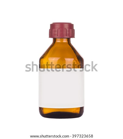 Medical glass bottle on a white background