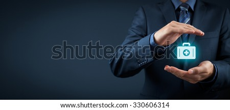 Medical (health) and life insurance concept. Insurance agent with protective gesture and icon of nurse briefcase. Wide banner composition. - stock photo