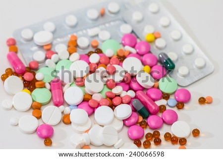 Medical / health-care concept: some medical colorful pills