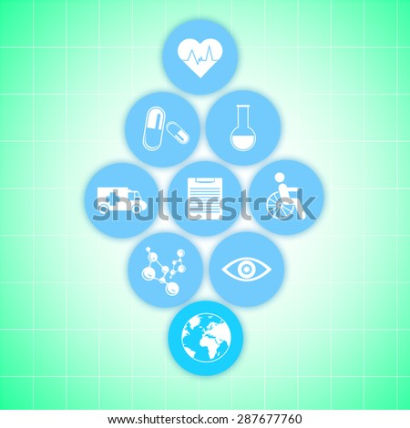Medical healthcare icons on green background. Modern medical technologies concept - stock photo