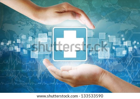 medical icon,First Aid in hand - stock photo