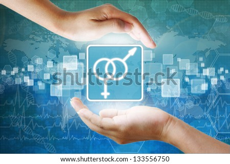medical icon, Male and female symbol in hand - stock photo