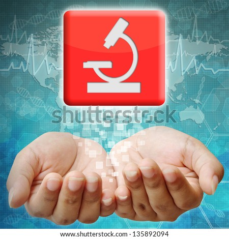 Medical icon on hand ,medical background - stock photo