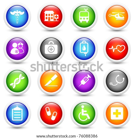 Medical Icon on Reflective Button Collection Original Illustration - stock photo