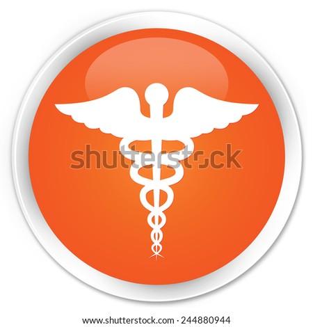 Medical icon orange glossy round button - stock photo