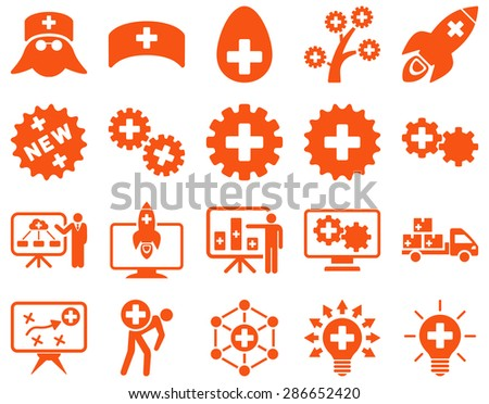 Medical icon set. Style: icons drawn with orange color on a white background.