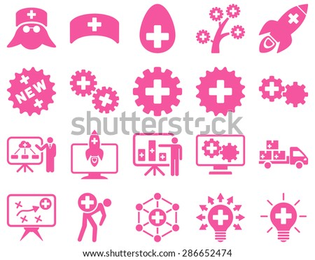 Medical icon set. Style: icons drawn with pink color on a white background.