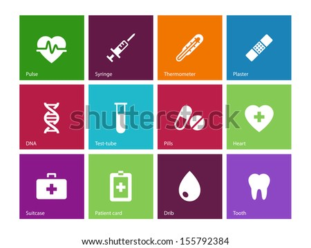 Medical icons on color background. See also vector version.