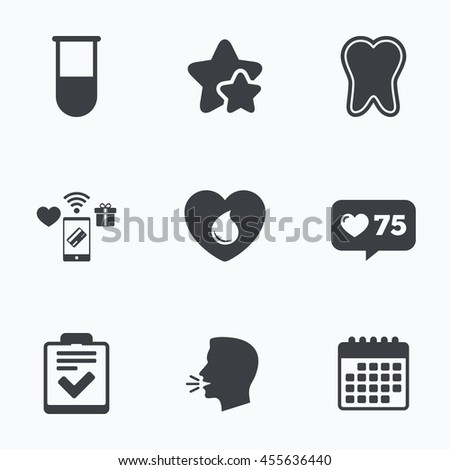 Medical icons. Tooth, test tube, blood donation and checklist signs. Laboratory equipment symbol. Dental care. Flat talking head, calendar icons. Stars, like counter icons.  - stock photo