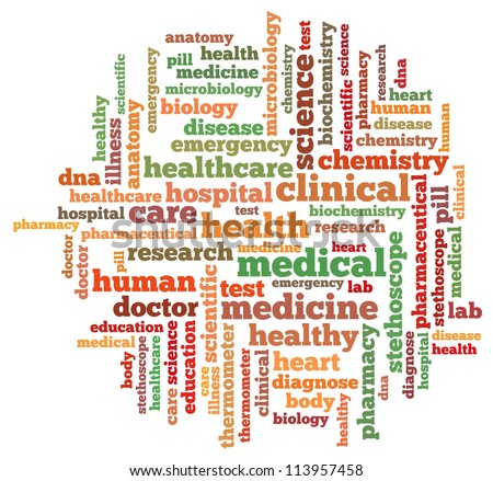 medical info-text graphics and arrangement concept on white background (word cloud) - stock photo