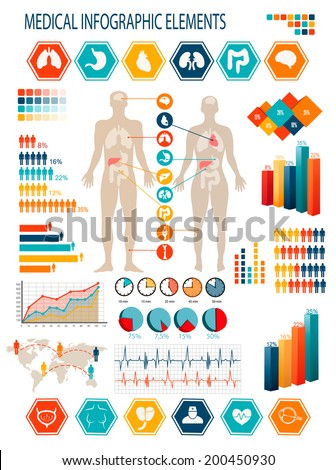 Medical infographics elements. Human body with internal organs. Raster version - stock photo