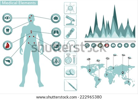 Medical infographics. Presentation set. Human body with internal organs plus buttons. Diagram (graph) - stock photo