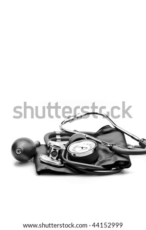Medical Instrument Stethoscope sphygmomanometer blood pressure - stock photo