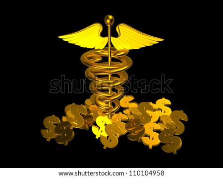 Medical logo and dollar sign - stock photo