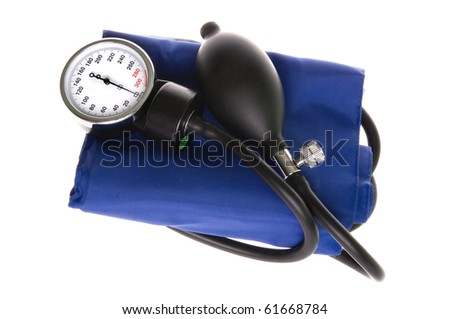 Medical manomete with a bulb and a blue cuff. Isolated on white background. - stock photo