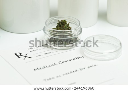 Medical marijuana prescription with containers and lid. - stock photo