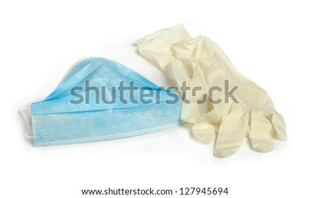 Medical mask and gloves. Studio shot - stock photo