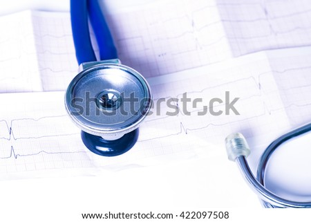 Medical, medicine stethoscope, ekg, electrocardiogram on white background. Health care or illness. Tablet or drug in hospital or pharmacy. Cardiology heart treatment. 