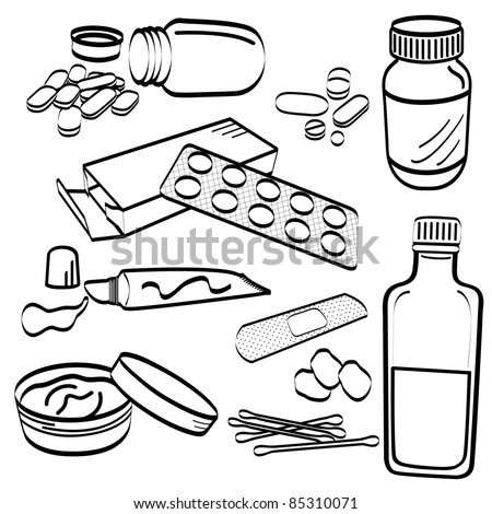 Medical Medicine Tablet Pill Cream Cotton Bud Cough Syrup Ointment Tube Gel Plaster Doodle - stock photo