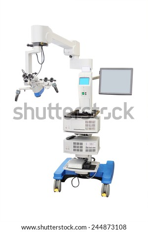 medical microscope isolated under the white background  - stock photo