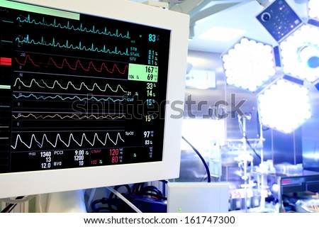 Medical monitor in the operating room. - stock photo