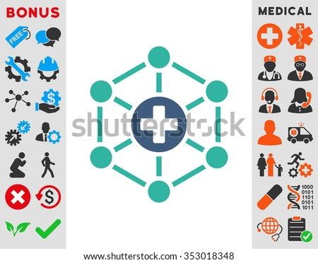 Medical Network glyph icon. Style is bicolor flat symbol, cobalt and cyan colors, rounded angles, white background. - stock photo