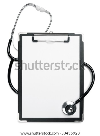 Medical note and doctor's stethoscope. - stock photo