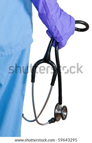 Medical nurse with a stethoscope isolated on white. - stock photo