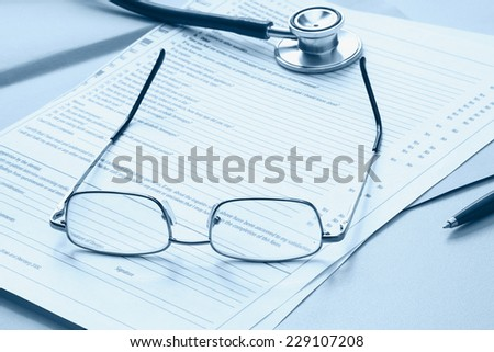 Medical objects on the table - stock photo