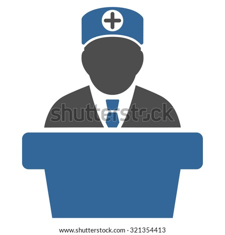 Medical Official Lecture glyph icon. Style is bicolor flat symbol, cobalt and gray colors, rounded angles, white background.