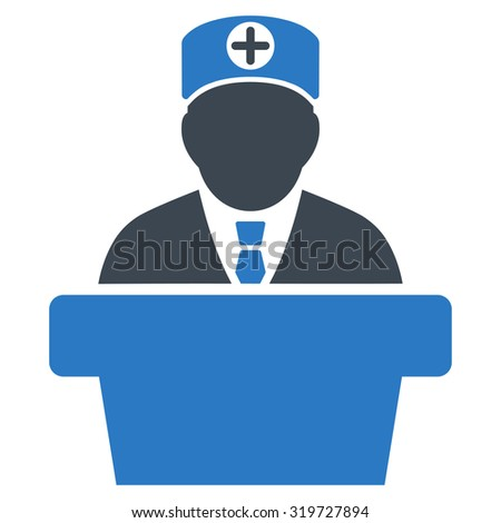 Medical Official Lecture glyph icon. Style is bicolor flat symbol, smooth blue colors, rounded angles, white background.