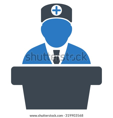 Medical Official Lecture raster icon. Style is bicolor flat symbol, smooth blue colors, rounded angles, white background.