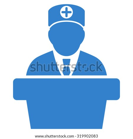 Medical Official Lecture raster icon. Style is flat symbol, cobalt color, rounded angles, white background.