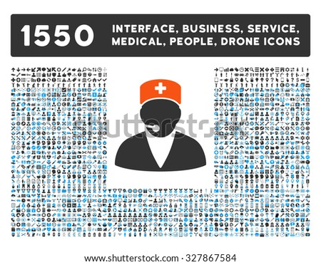 Medical Operator and other web interface, business tools, people poses, medical service glyph icons. Style is flat symbols, bicolored, rounded angles, white background.