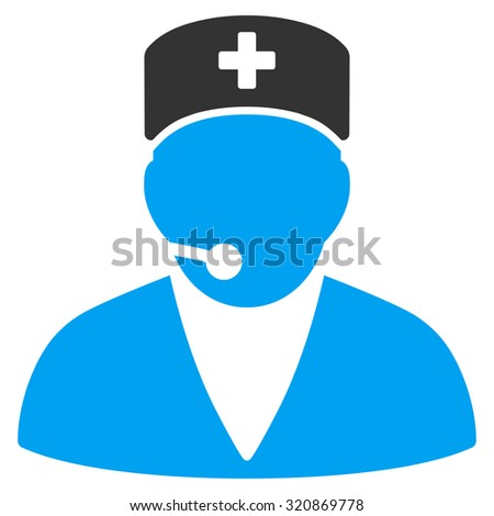 Medical Operator glyph icon. Style is bicolor flat symbol, blue and gray colors, rounded angles, white background.