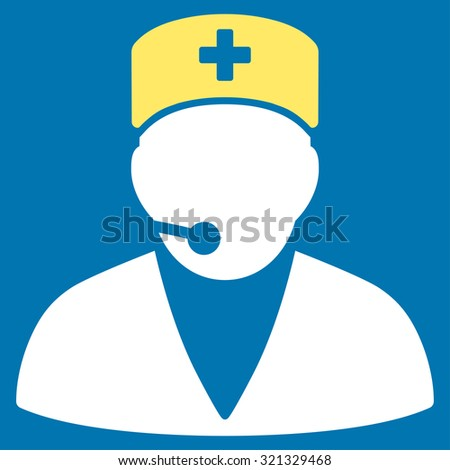 Medical Operator raster icon. Style is bicolor flat symbol, yellow and white colors, rounded angles, blue background.
