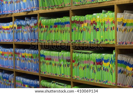 Medical or Dental patient files in medical or dental office - stock photo