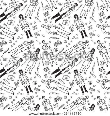 Medical people and objects seamless black  pattern. Doodles wallpaper with doctors and medical objects. Black and white seamless pattern illustration. - stock photo
