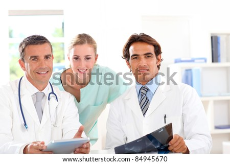 Medical people in work meeting - stock photo