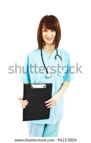 Medical person: Nurse / young doctor portrait. Confident young woman medical professional isolated on white background.