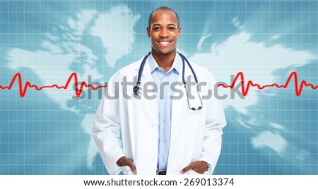 Medical physician doctor man over hospital background. - stock photo