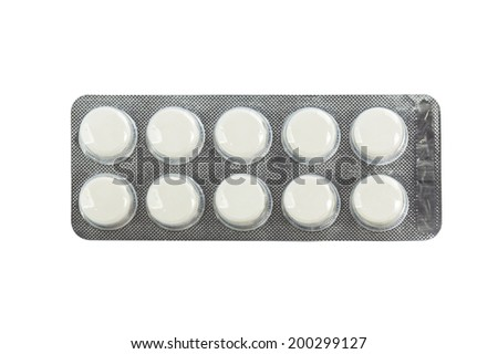 Medical pills in transparent blister packs isolated on white background with work path